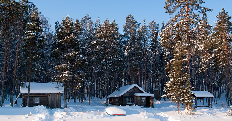 Карелия зима избушки