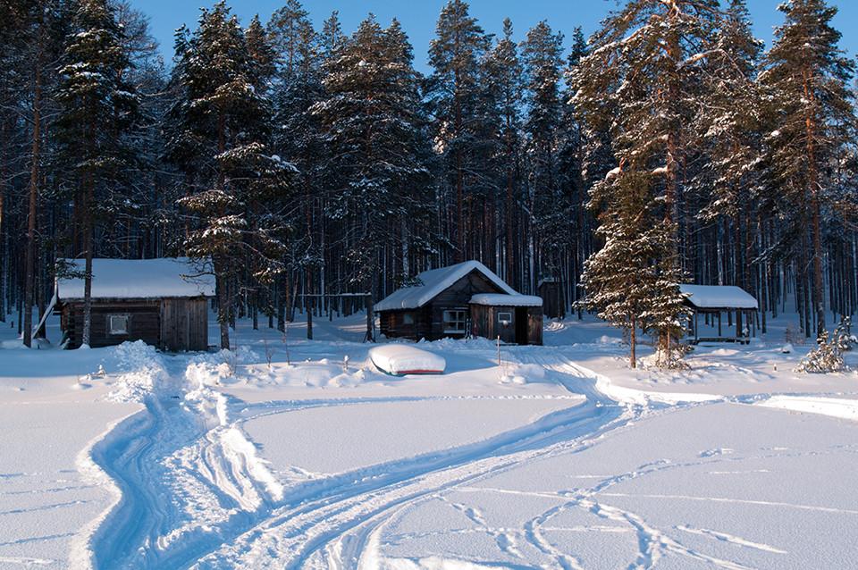 изба Хирмуш зимой
