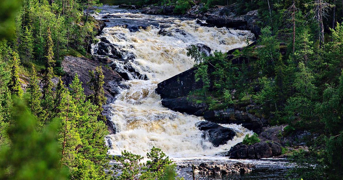 Водопад Куми-порог Карелия Калевала