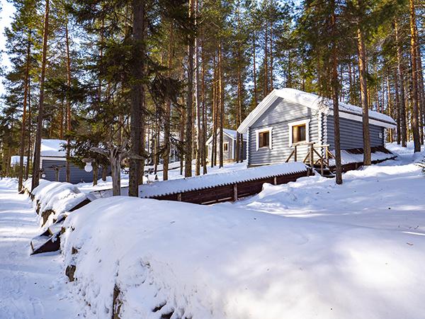 Коттеджи в Северной Карелии - коттедж семейный мини зимой